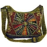 GURU SHOP Schultertasche Patchwork Hippie Tasche Goa Tasche - Violett Herren/Damen Baumwolle 30x30x6 cm Alternative Umhängetasche Handtasche aus Stoff