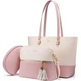 LOVEVOOK Handtaschen für Damen modische Tragetaschen Schultertasche Tragegriff Umhängetasche Handtasche 3-teiliges Set