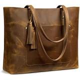 S-ZONE Damen Handtasche Vintage Crazy Horse Leder Gro?e Shopper Schultertasche Tote Bag Geldbeutel