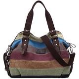 COOFIT Damen Shoppe Multi-Color-Striped Canvas Damen Handtasche/Umhängetasche
