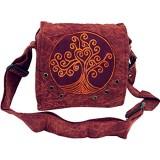 GURU SHOP Ethno Schultertasche Nepaltsche Stonewash `Tree of Life` - Petrol Herren/Damen Baumwolle 20x20x7 cm Alternative Umhängetasche Handtasche aus Stoff